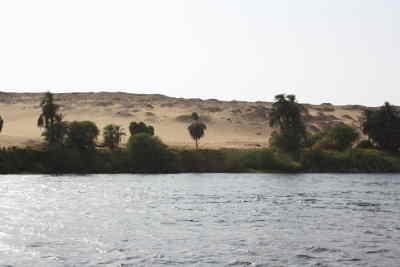 Río Nilo de Egipto con el mar y la línea de costa con palmeras y arena